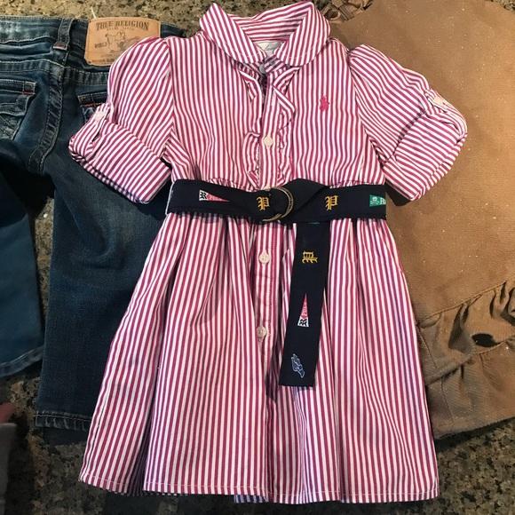 Polo Ralph Lauren Baby Girl 9m belted shirt dress
